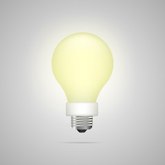 Vector image, icon of a light bulb. The effect of yellow light. Vector illustration.