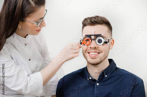 Slit lamp eye oculist doctor control cornea and retina exam