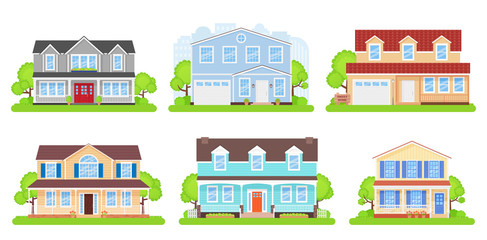 House front. Vector. Home exterior. Townhouse building facade. Modern cottage with tree, bush, yard. Residential estate. Suburb architecture. Apartment with roof door. Cartoon illustration Flat design