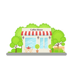 Cafe shop. Vector. Coffee house. Restaurant store front. Storefront exterior in flat design. Facade retail building with window. French city architecture. Cartoon illustration Street cafeteria isolate