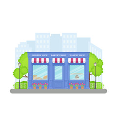 Bakery shop, storefront. Vector. Vintage store front. Facade retail building with window. Cartoon exterior house. Retro street architecture. Illustration isolated in flat design. Modern blue shopfront