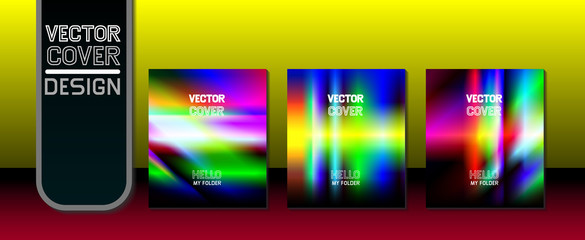 Vector illustration. A set of folders. Colored folders. Paper. Office Identity. Northern Lights.