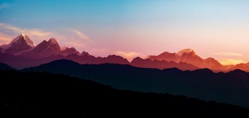 Helambu mountain range panorama