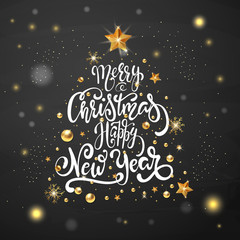 Merry Christmas and Happy New Year large postcard with calligraphic text with golden stars.