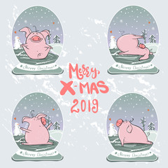 Christmas set of cute little pigs. New Year symbol. Vector winter illustration