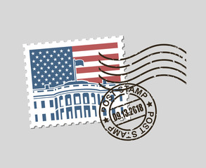 postage stamp with american symbol white house