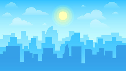 Urban cityscape. City architecture, skyscrapers buildings and town landscape with sun on cloudy sky vector background illustration