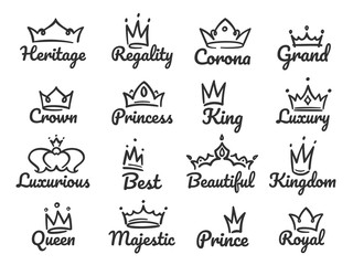 Majestic crown logo. Sketch prince and princess, hand drawn queen sign or king crowns graffiti vector illustration set