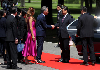 Argentina's President Mauricio Macri receives China's President Xi Jinping at the Olivos Presidential Residence in Buenos Aires