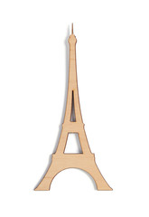 wooden eiffel tower toy isolated on white