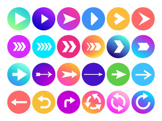 Arrows in circle icon. Website navigation arrow button, colorful gradient round back or next sign and web arrowhead vector icons
