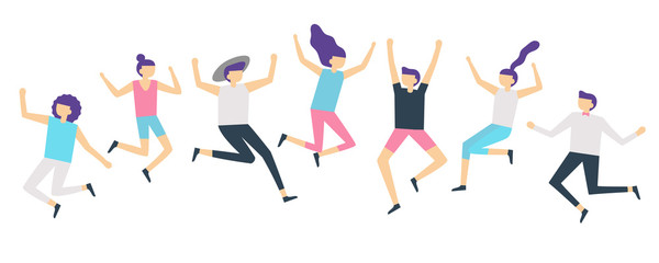 Jumping people. Active adults friends group jump. Happy female and male characters jumped and laugh vector illustration