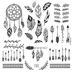 Boho art. Tribal arrow feather, bohemian floral border and hippie fashion frame vector elements set