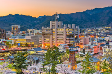 Kofu City, Japan Downtown Skyline at Dusk