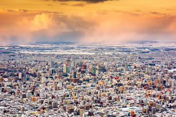 Sapporo, Japan winter skyline