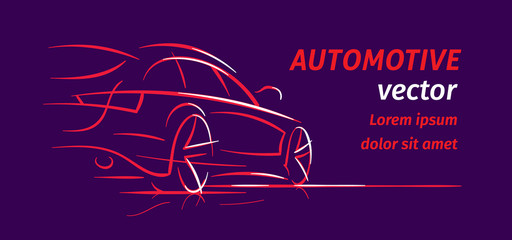 Modern car abstract line illustration for cards, flyers etc. Auto silhouette outline on dark background. Vector. Text outlined.