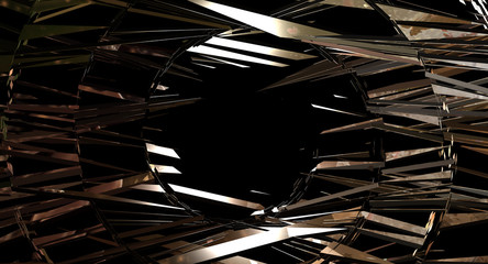 geometric shattered.explosion gold rectangles. random rectangles digital illustration, abstract geometric background