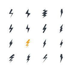 Collection of thunderbolt signs. Set of lightings icons. Flat design elements. Weather symbols. Vector illustration.