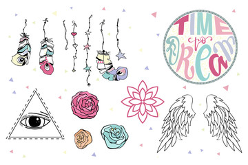 Set of hand drawn Boho design elements including Feathers, Dream Catcher, Arrows, lettering, magic hippie elements. Tribal collection.