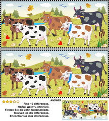 Farm and autumn themed visual puzzle: Find the ten differences between the two pictures of spotted milk cows on a pasture. Answer included.