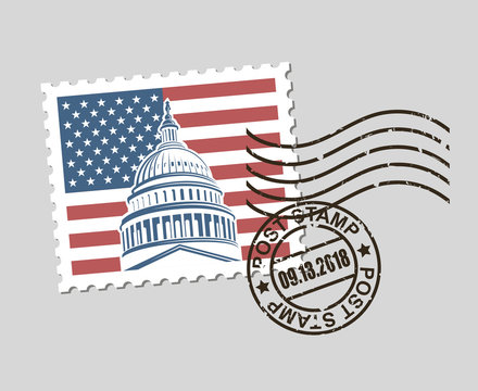 postage stamp with american symbol capitol building