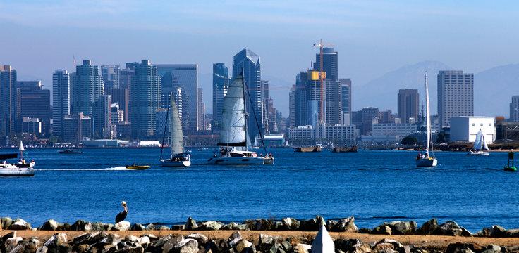 San Diego Skyline with Sailboats, America.