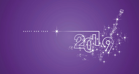 New Year 2019 line design firework champagne white purple vector greeting card