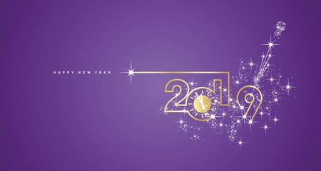 New Year 2019 line design gold clock sparkle firework champagne white purple vector