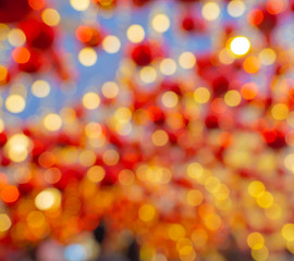 Bokeh lights background for Christmas and New Year celebration.