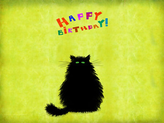 Birthday Card Black Green Eyed Cat Sitting On Yellow Background