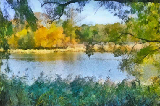 Morning on the river watercolor drawing