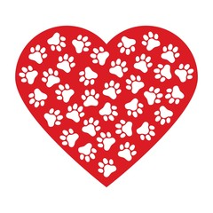 Dog paw print made of red heart vector illustration background