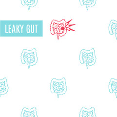 Linear pattern medical poster for leaky gut intestine disorder