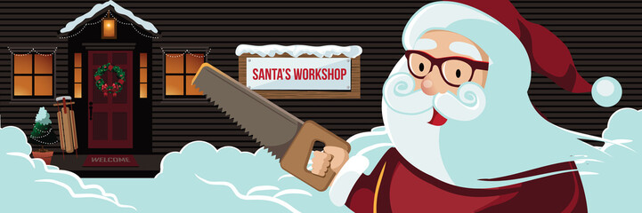 Cartoon Santa Claus holding a hand saw in front of his Christmas workshop. Eps10 vector illustration.
