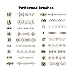 Collection of patterned brushes, decorated with scandinavian folk ornaments, seamless on both sides