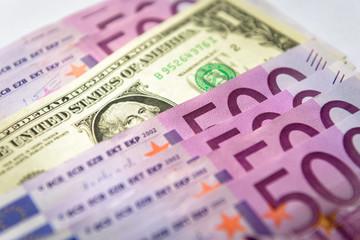500 euro money banknotes versus 1 dollar