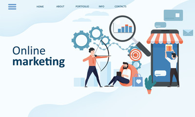 Online marketing landing page template. Modern trend flat design concept of web page design for website and mobile website. Easy to edit and customize. Vector illustration. Isolated