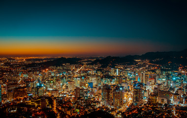 Fotobehang Crimson The night of Seoul, Korea, taken from a local mountain in the city