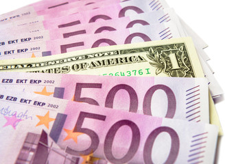 500 euro money banknotes versus 1 dollar isolated on a white