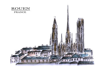 France. Watercolor drawing of Rouen Cathedral on a white background. City sketch.