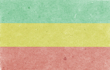 Old paper background. Rastafarian horizontal flag, texture, raster illustration