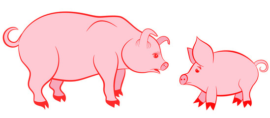 Mother pig and pink piggy - symbols of 2019