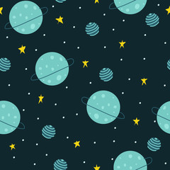 Seamless pattern space sky. Stars and planets. For printing on fabric, children's clothing, paper.