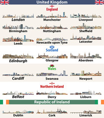 Fototapete - vector set of largest cities skylines icons of British Isles countries: United Kingdom (England, Wales, Scotland, Northern Ireland) and Republic of Ireland