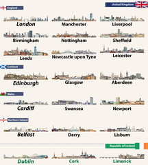 Fototapete - Largest cities skylines of British Isles countries: United Kingdom (England, Wales, Scotland, Northern Ireland) and Republic of Ireland. Vector illustration