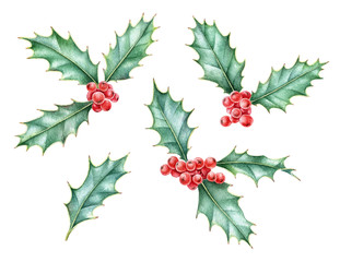 Watercolor set of holly berry, symbol of Christmas and New Year. Hand drawn elements are isolated on white background.