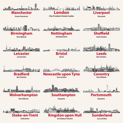 England cities isolated skylines. Vector illustration