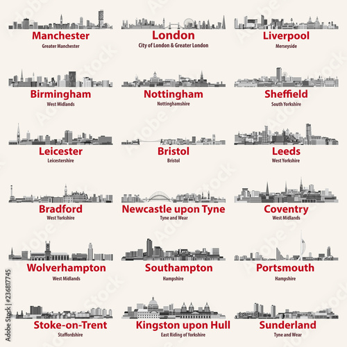 Fototapete England cities isolated skylines. Vector illustration