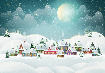 Winter village in the pine forest