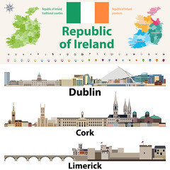 Republic of Ireland traditional countries and provinces map and Irish largest cities skylines. All elements separated in editable and detachable layers. Vector illustration